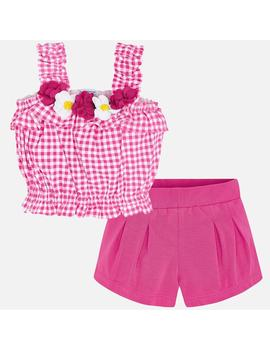Conj.Short Top Cuadros Rosa Mini Niña
