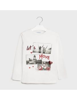 Camiseta Mayoral LET'S MOVE Crudo Kids Niña