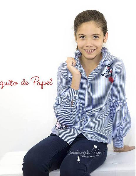 Camisa Rayas Con Flores Azul Nña Name it